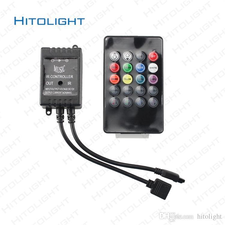HITOLIGHT DC12-24V 6A LED RGB 뮤직 컨트롤러 오디오 20dB IR RGB Ribbion 블랙 LED RGB 스트립에 대 한 민감한 블랙