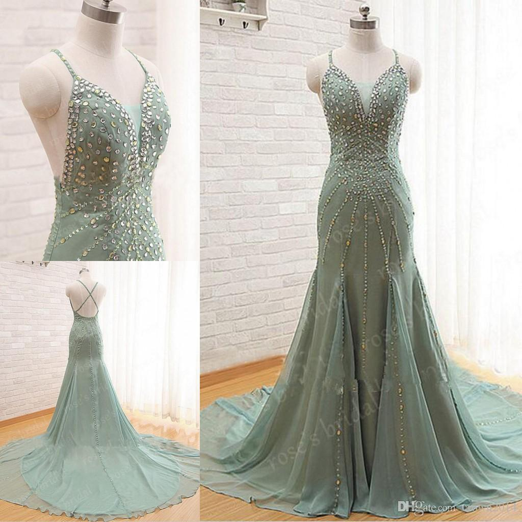 Elegant Backless Sexy Mermaid Evening Dresses 2019 Long Beaded Spaghetti Straps Chiffon Evening Gowns Chapel Train Real Photo Formal Gown