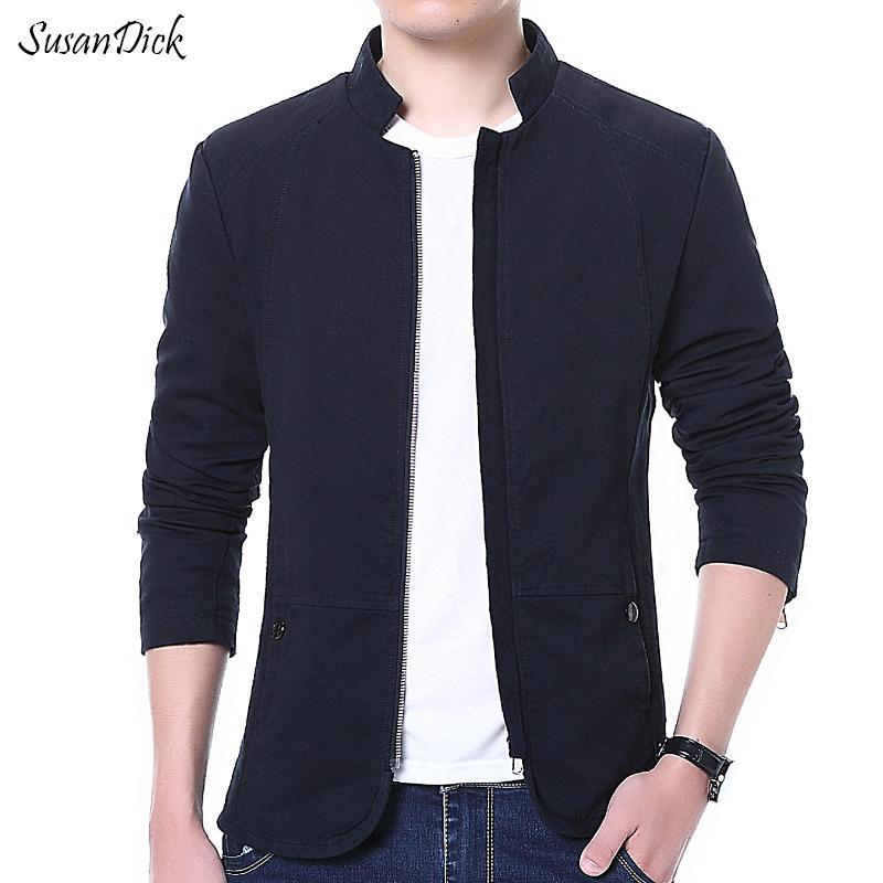 Wholesale- Fashion 2016 Autumn Jacket Men Clothing Thin Slim Casual Business Coat Male Plus Size Stand Collar Cotton Navy Blue Jacket