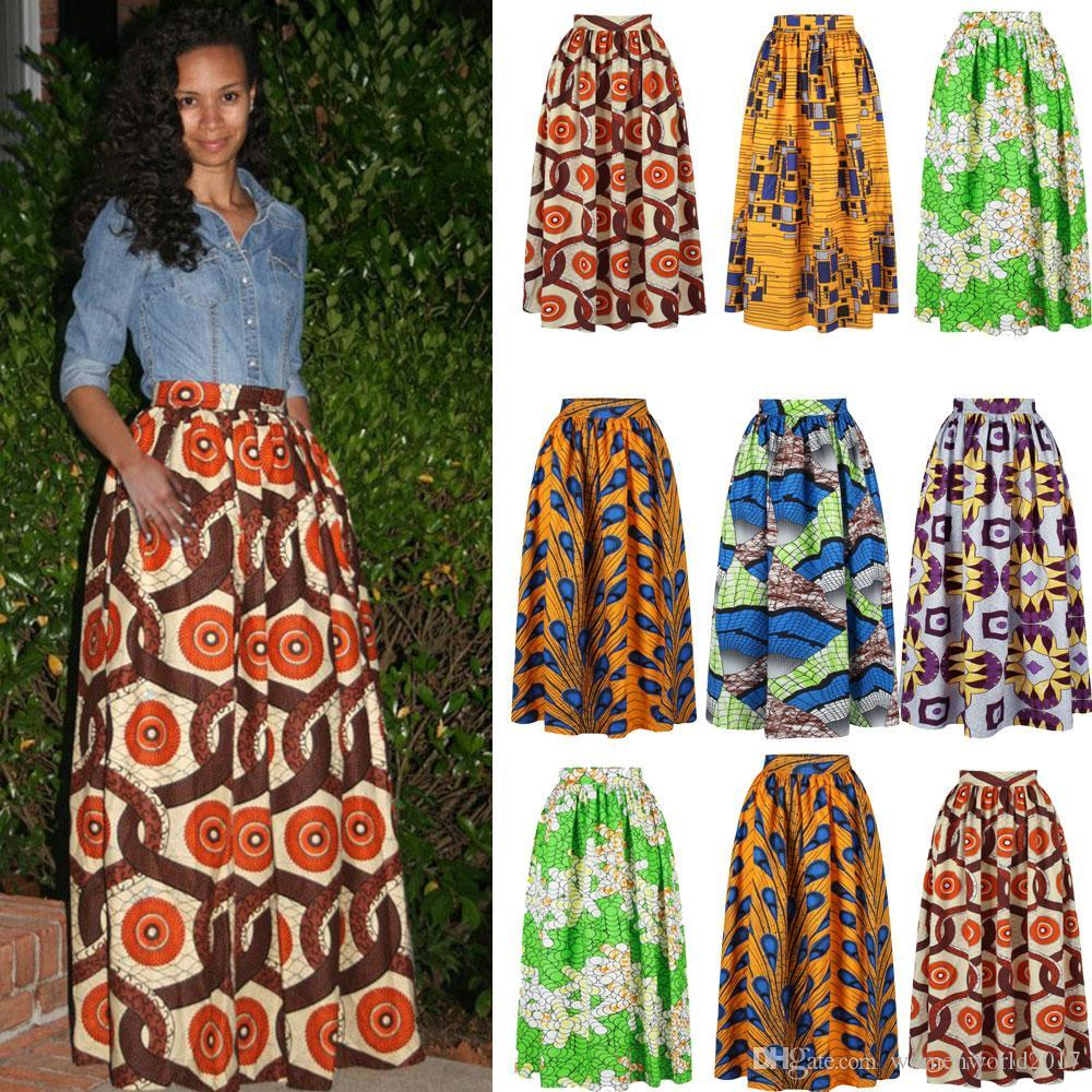 2019 Dashiki Beach Bohemian Pleated Swing Plus Size High Waist Ball Gown  Floral African Print Maxi Flared Skirt From Womenworld2017, $13.07 | ...