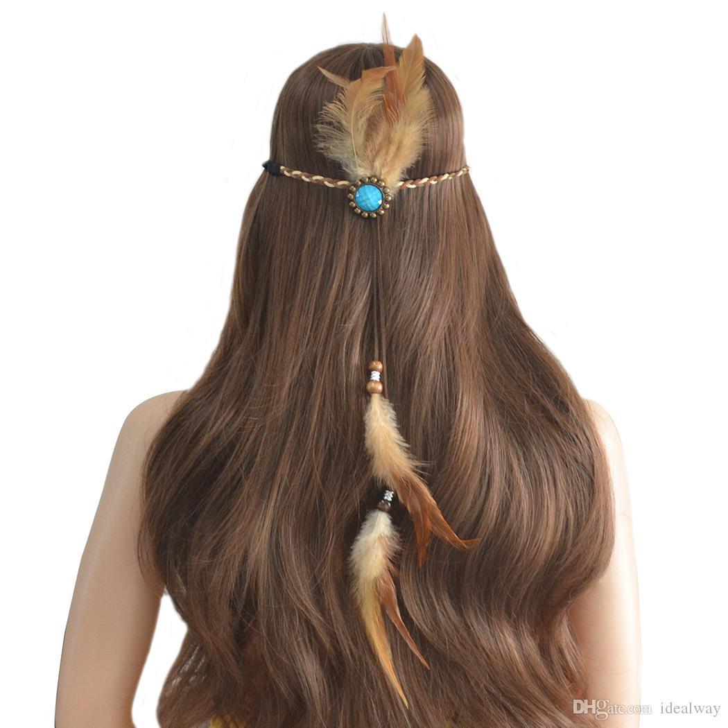 idealway Handmade Ethnic Rope Leather Brown Feather Headbands Wood Beads Boho Hair Accessories