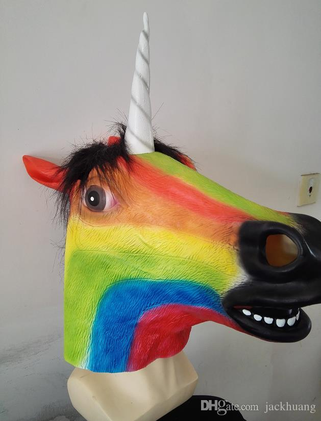 Rainbow Creepy Colorful Horse Mask Full Head Halloween Costume Theater Prop Novelty Latex Rubber