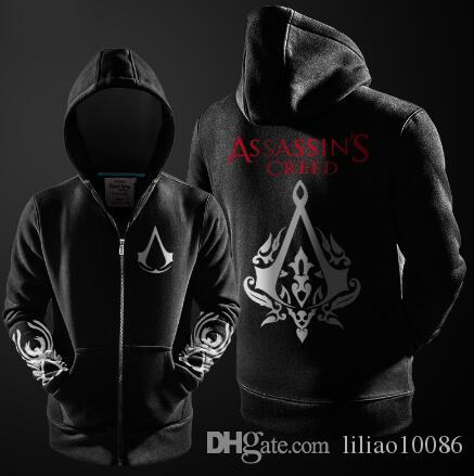 Herbst Männer Kostüm Herren Fleece Assassins Hoodie Großhandel Sweatshirt Neue Gefüttert Winter Cosplay Schwarz Assasins Creed Hoodies Jacken PiZOkXuT
