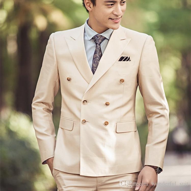 Il vestito da cerimonia nuziale dei nuovi uomini su misura mette 2017 il blazer adatto degli uomini di affari del doppio petto di modo di prova del campione per usura del partito