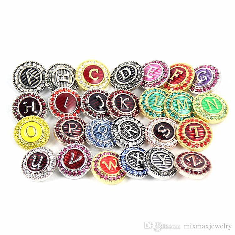 nuovi 26pcs / set alfabeto inglese dalla A alla Z Ginger 18mm bottoni a pressione fascini Chunk strass Gioielli fai da te nuovo di zecca
