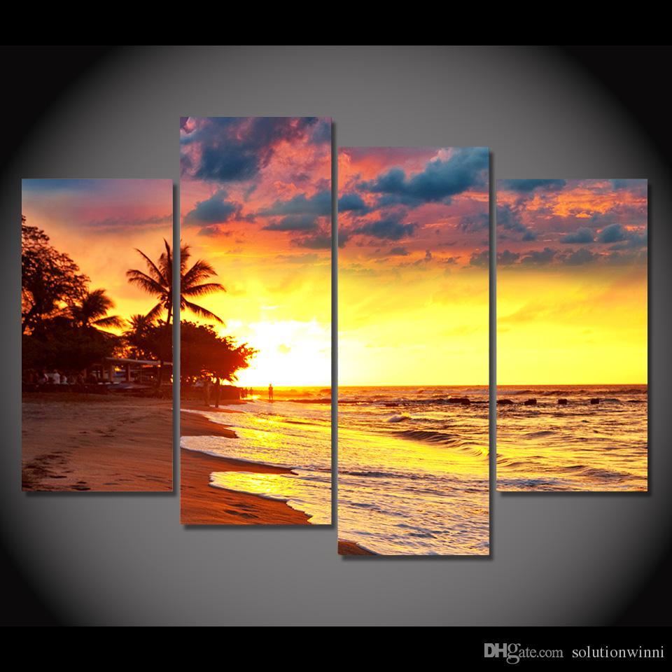 2018 Canvas Art Canvas Painting Sunset Coast Palms Hd Printed Wall ...