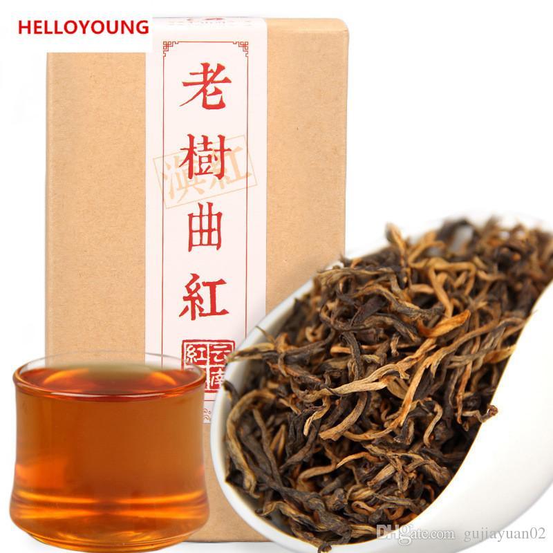 80g Promoção preto orgânico Chinese Tea premium Natural Yunnan antiga árvore Dianhong Chá Vermelho Health Care New Cozido Chá Verde Food encaixotado