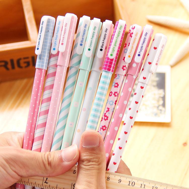 Atacado-10PCS / Pack incluindo box Coréia do Sul Papelaria fresco bonito caneta caneta define 10 cores tintas 0.38mm oferta especial.