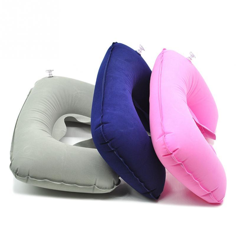 60pcs Portable Inflatable U-Shape Flocked Pillow Neck Rest Car Travel Comfort Headrest Car Flight Travel Soft Nursing Cushion