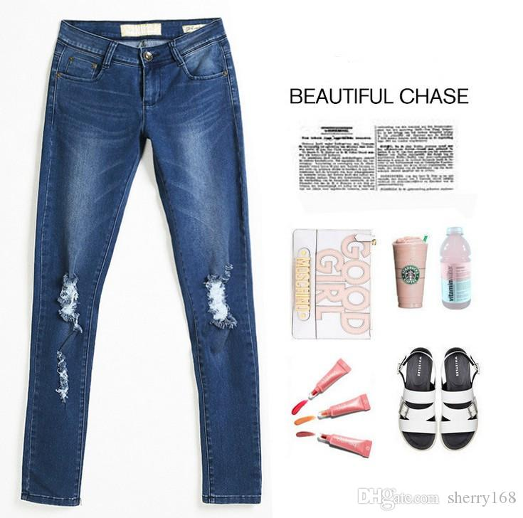 2017 Hot Fashion Designed Ladies Cotton Denim Pants Womens Stretch Bleach Ripped Knee big Hole Skinny Jeans Casual Denim Jeans For Female
