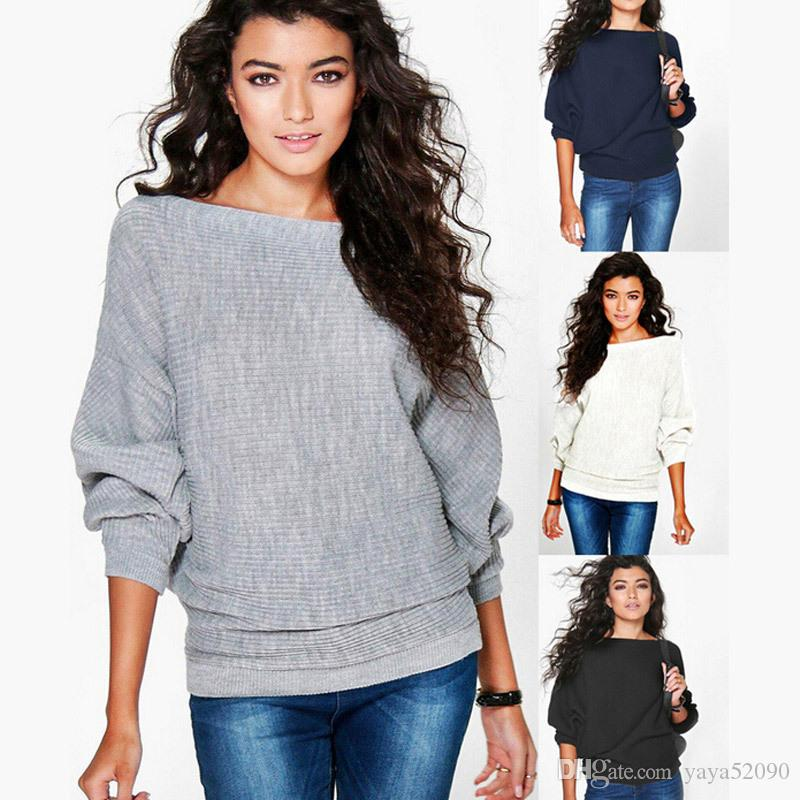 new Autumn winter fashion loose bat sleeves thread T-shirt long-sleeved sweater Leisure cotton Tops coat Sweatshirts Long Tank Women Clothes