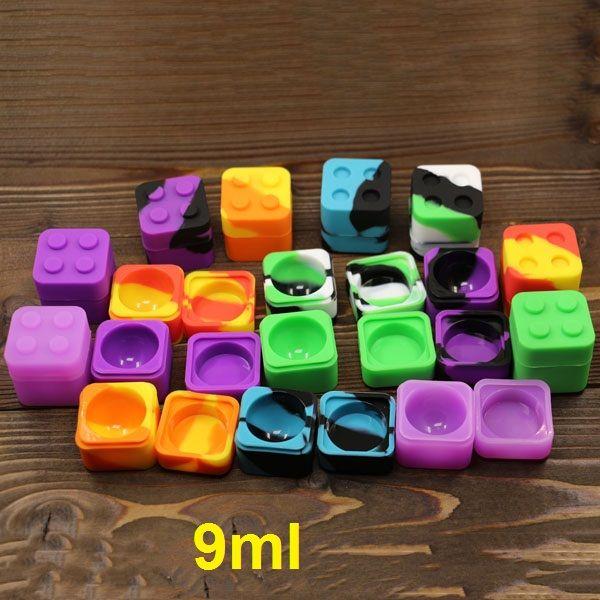 Lego Silikon Wachs Öl Box 9ml Quadrat Silikon Dab Bho Container Silikon Antihaft-Wachs-Öl-Extrakt Bho Container