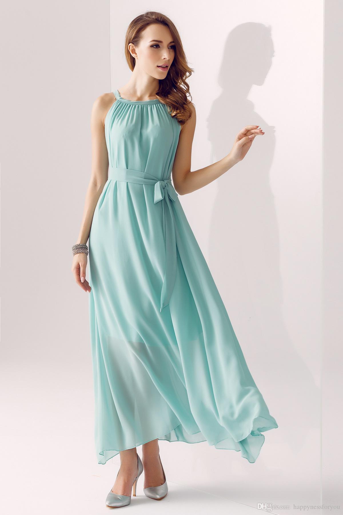 dresses fashion new hot simple Chiffon dress White, blue, orange ...