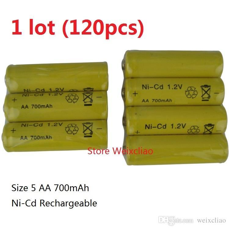 120 sztuk 1 Lot Akumulator Ni-CD Rozmiar baterii 5 1.2 V 700mAh NI CD 1.2 Volt Baterie Darmowa Wysyłka