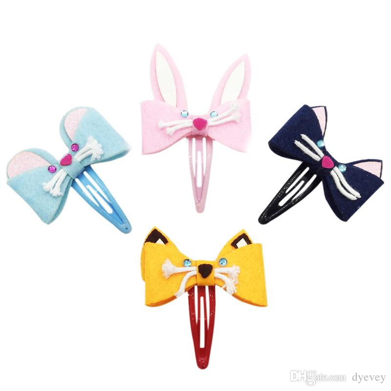 Fabric hair clips for children fancy cute animal felt kids barrettes