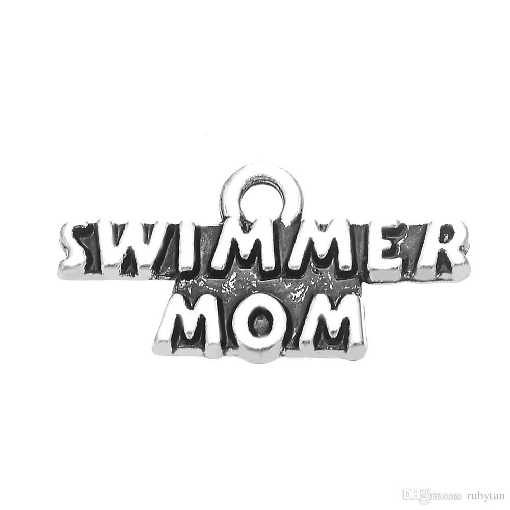 50 PCS Prata Lettering Swimmer Mom Dangle Charme Esporte Dangle Jóias DIY Acessórios Para PulseiraColares de Pingente