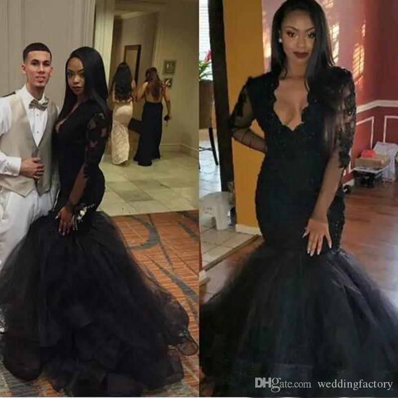 2019 New Arabic Beaded Mermaid Evening Dresses V-Neck Sheer Long Sleeves Lace Appliques Black Elegant Girls Prom Party Gowns Custom Made
