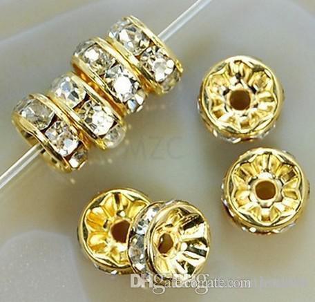8MM Cristal Blanc Spacer plaqué or métal strass rondelle Perles pour les meilleurs bijoux bricolage Making detalon Bracelet j35356