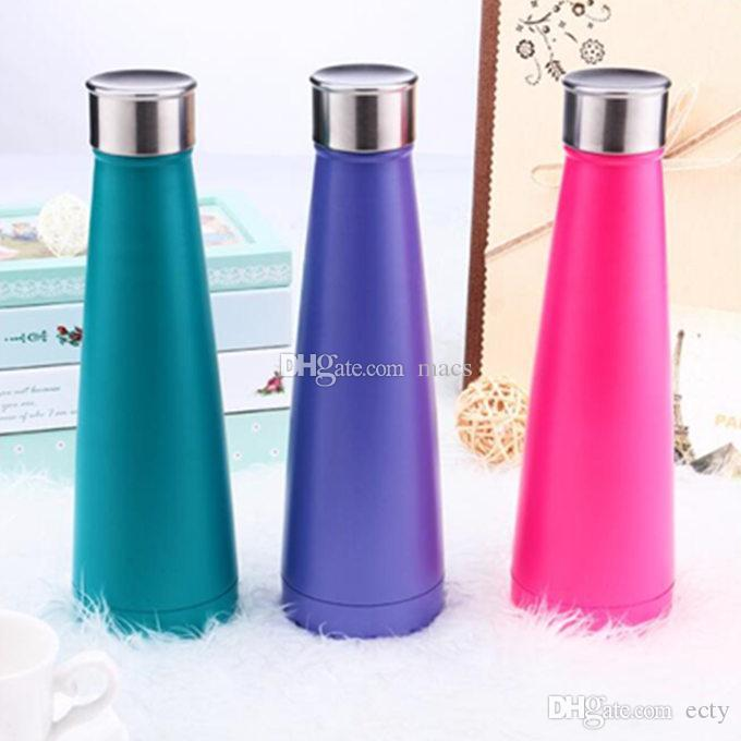 10Colors Water bottle Vacuum Cup Coke bottle 15oz which enable creative 304 stainless steel vacuum keep-warm glass cup customized logo 450ml