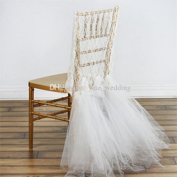 Copertura romantica della sedia di nozze del pizzo con le coperture della sedia di Tulle Ruffles dello sposo e della sposa Copertura su ordinazione della sedia di Chiavari