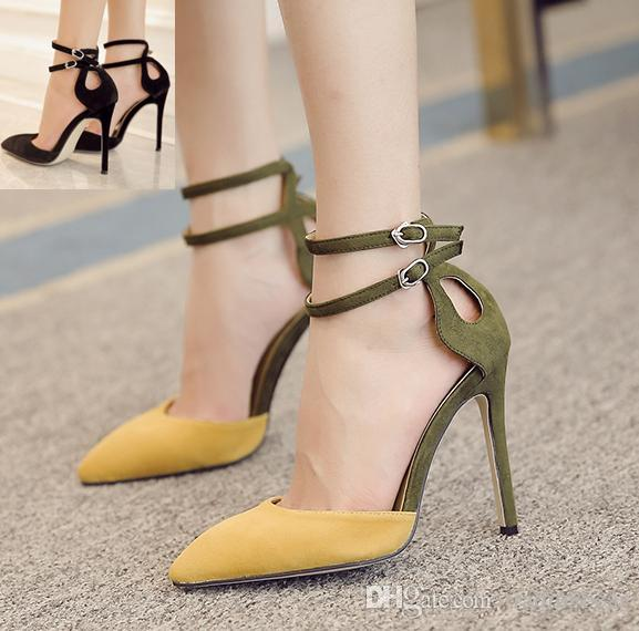 Milan Fashion Yellow Black Color Block Pointed Toe D'Orsay Pumps Ankle Strap Sexy Women Shoes High Heels Size 35 to 40