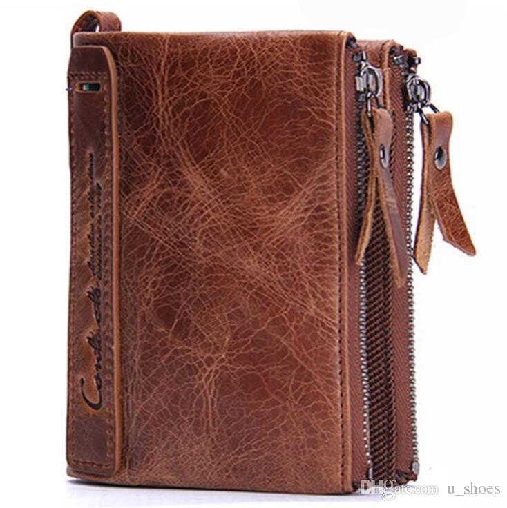 جديد الرجال محافظ جلدية قصيرة مقاطع حقيبة يد محافظ كاوبوي جلدية مزدوجة سحاب محفظة شحن مجاني