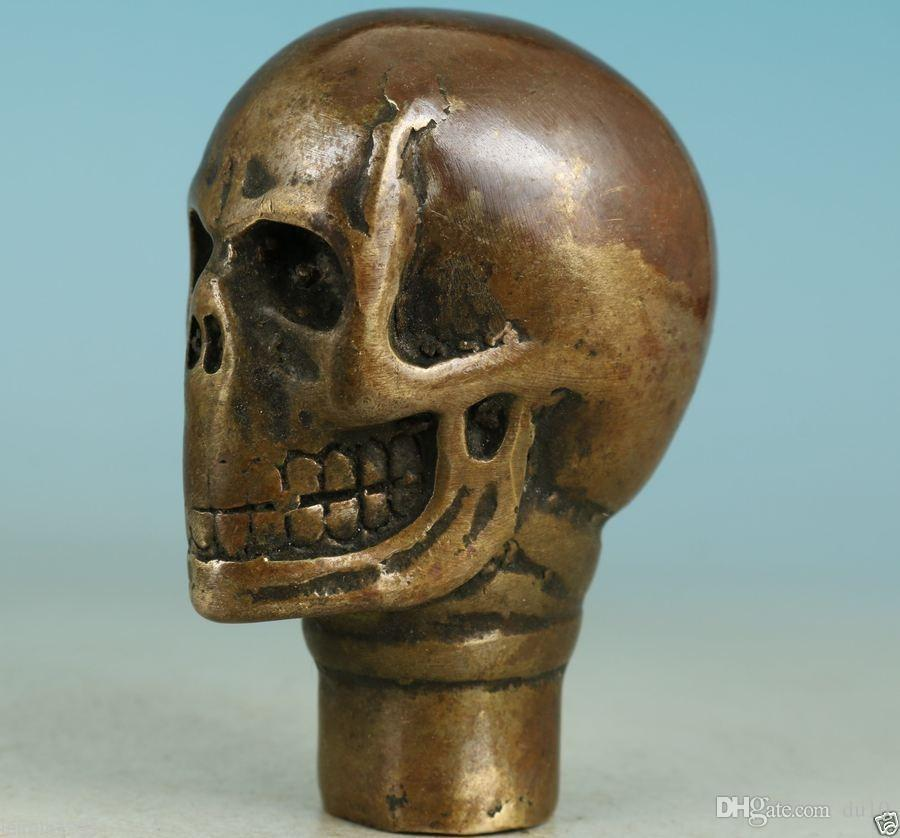 Chinese Old Bronze Handmade Carved Skull Statue Walking Stick Head Head gift Copper Brass crafts decoration