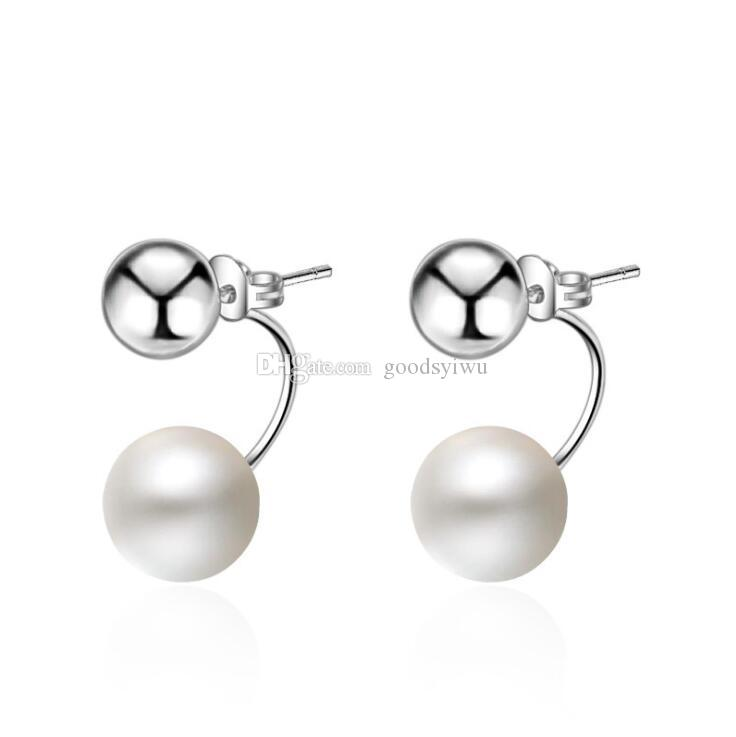 925 Silver Plated and White Pearl Ball Hoop Stud Earrings