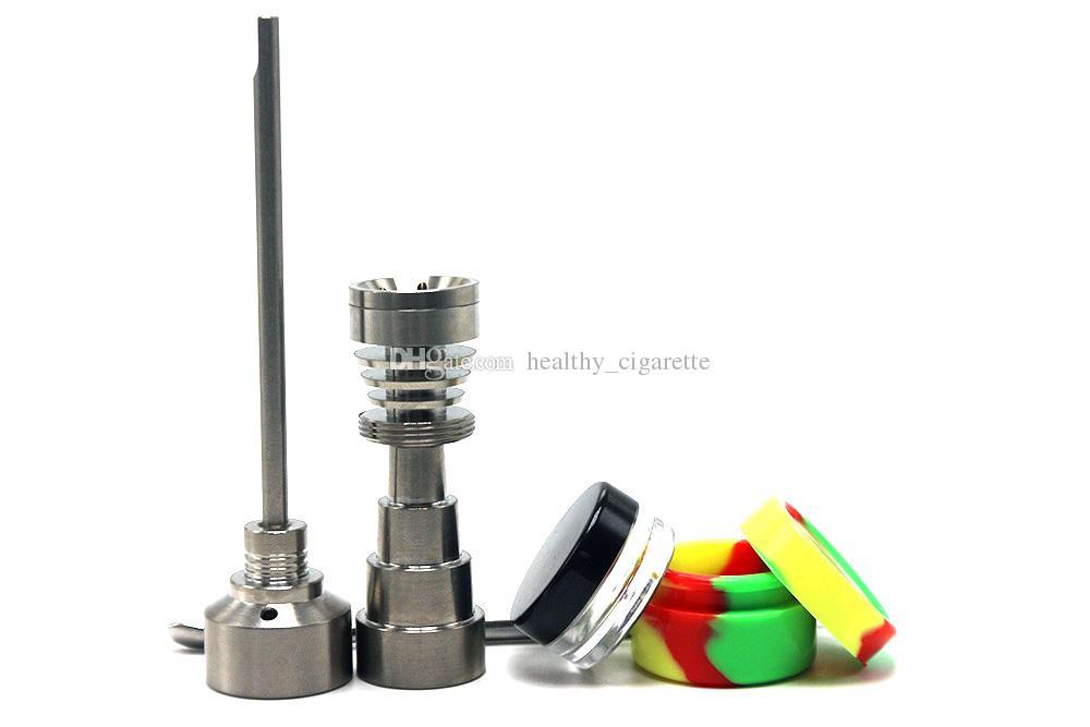 Glass Bong Tool Set 10mm 14mm 18mm Domeless Gr2 Titanium Nail Carb Cap Dabber Plastic Jar For Oil Rigs Glass Bongs In Stock