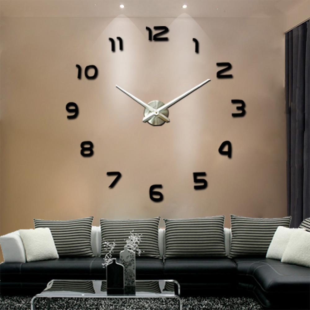 حار بيع 3d diy ساعة الحائط التصميم الحديث سات reloj دي باريد المعادن الفن ساعة غرفة المعيشة الاكريليك مرآة ووتش ووتش murale