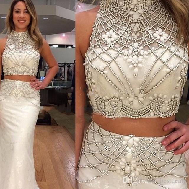0c33f9e83f504 White Mermaid Two Pieces Prom Dresses 2017 Sexy Beading Crystal Satin Prom  Gowns Formal Evening Dress For Women Formal Dresses For Juniors Gold Prom  ...