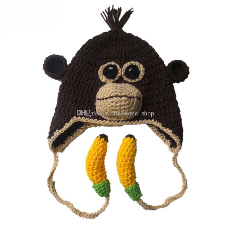 2019 Handmade Knit Crochet Monkey Hat With Bananasbaby Boy Girl