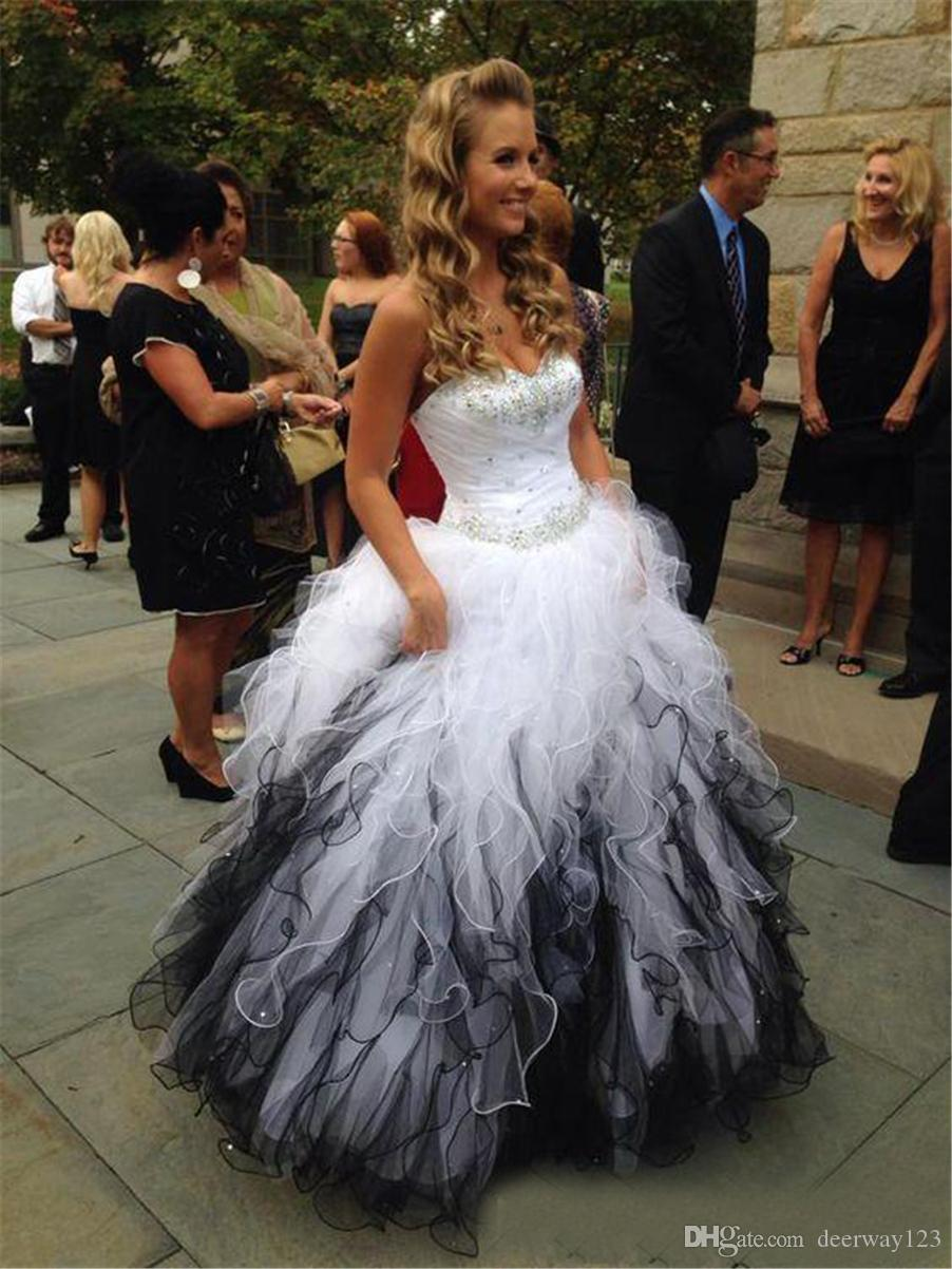 Blanco y negro con volantes de organza vestidos de quinceañera cariño sin mangas con cuentas de cristal vestido de bola por encargo elegante vestido formal