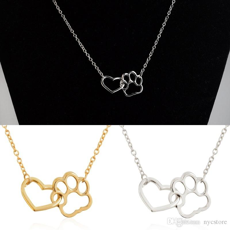 Good Quality Women Fashion 18K Gold Silver Dog Paw Claw Love Pendant Necklace Girl Alloy Heart Hollow Necklaces Charm Jewelry Accessories