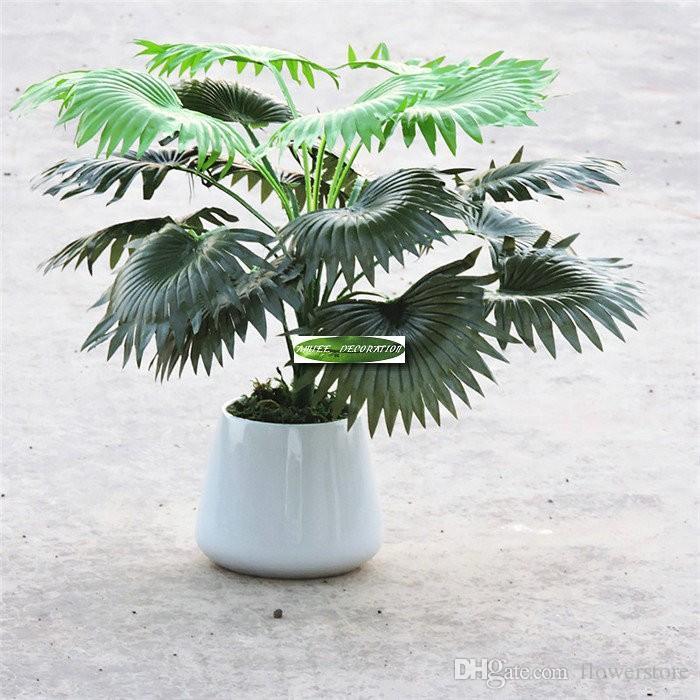 크리스마스 6pcs 실크 패브릭 50cm 인공 코코넛 팬 식물 나무 웨딩 홈 오피스 가구 장식 가짜 단풍 아니 꽃병 녹색 F52