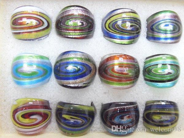 12pcs / lot 믹스 색상 스타일 DIY 공예 보석 선물 RI2 *에 대 한 램프 워크 유리 밴드 링