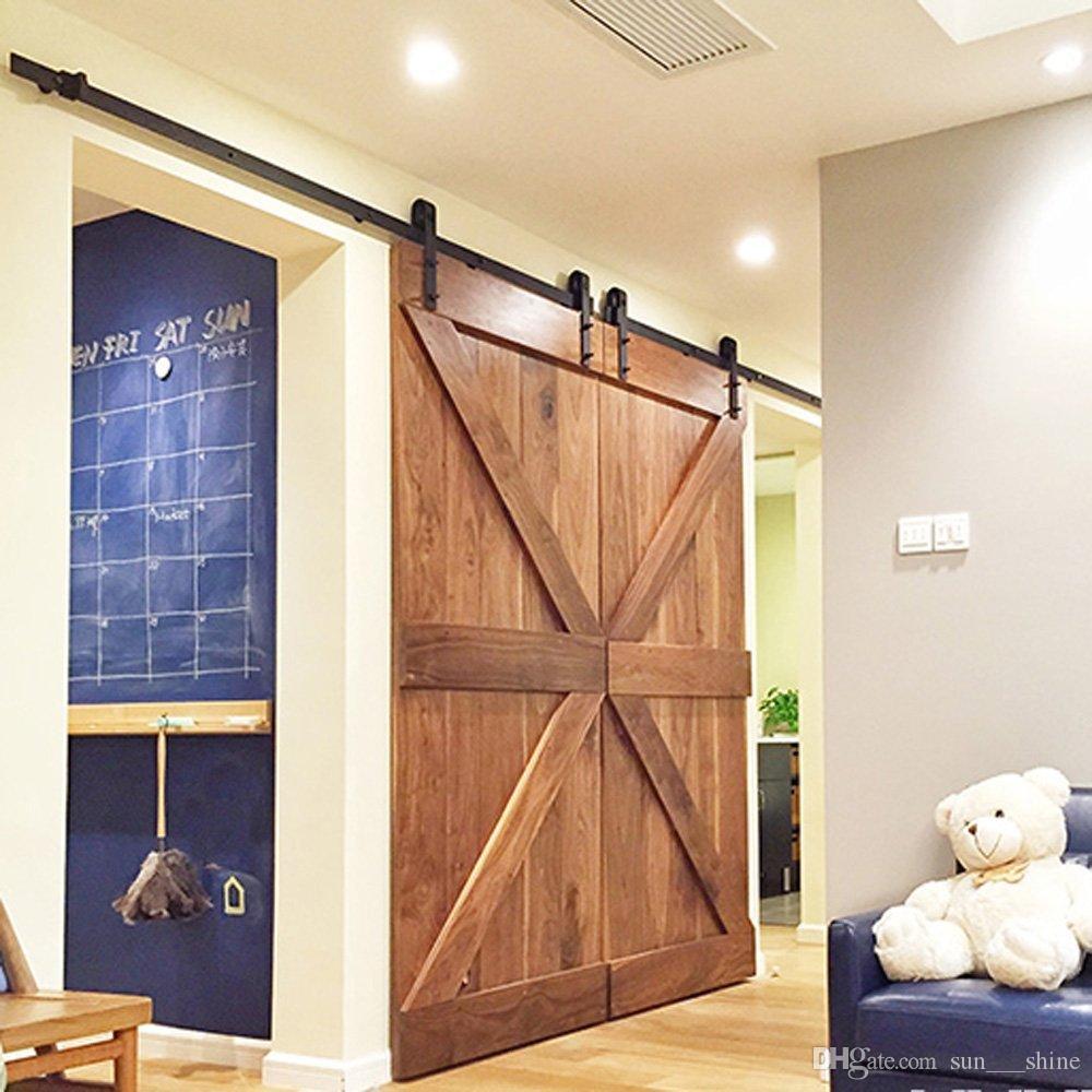 8 pies de antigüedades doble puerta de granero deslizante Hardware Kit de pista de rodillo negro superficie helada para exterior o interior