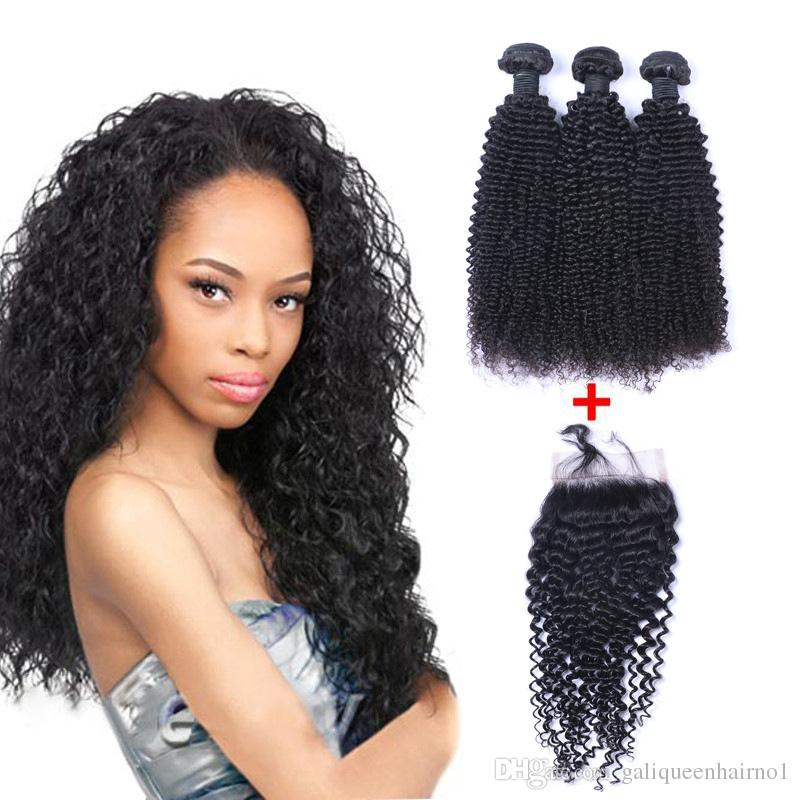 Brazilian Kinky Curly Human Virgin Hair Weaves With 4x4 Lace Closure Bleached Knots 100g/pc Natural Color Double Wefts Hair Extensions