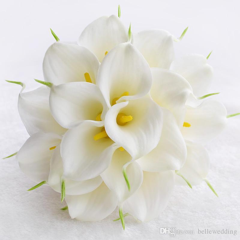 BRIDAL BUQUETS для свадьбы с белыми / желтыми Calla Pearls Rhinestones Ленты ручной работы искусственные свадебные букеты # BW-B017