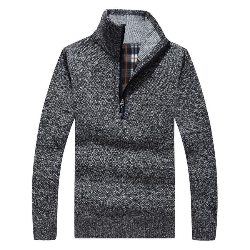 Großhandels-starke warme Winter-Pullover-Mantel-Männer Reißverschluss-Pullover-Kaschmirwolle-Strickjacken-Mann-beiläufige Strickwaren-Vlies-Samt-Kleidung 50wy