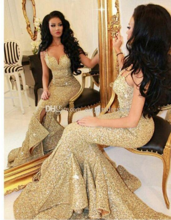 New Designer 2017 Mermaid Gold Prom Dress With Slit Lace Appliques Open Back Sequins Evening Dresses Pageant Gowns Bling Front