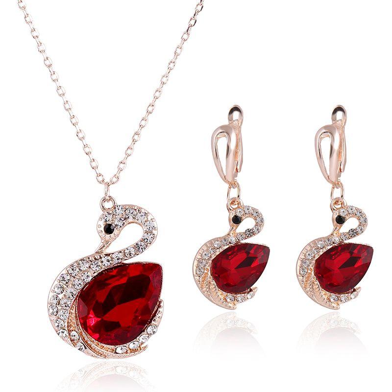 Ruby Necklace Set Hot Sale Sparkle Swarovski Crystal Element Swan Shaped Wedding Jewelry Set Fashion Womens Earrings Set New Arrival