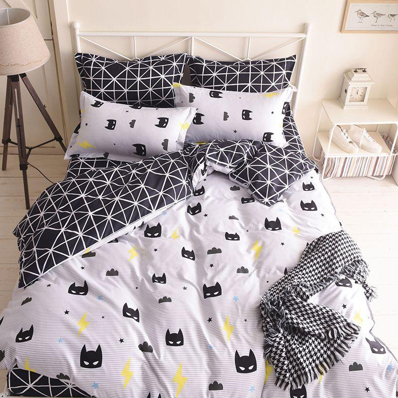 Quality Batman Mask Bedding Set Cartoon Black White Duvet Cover