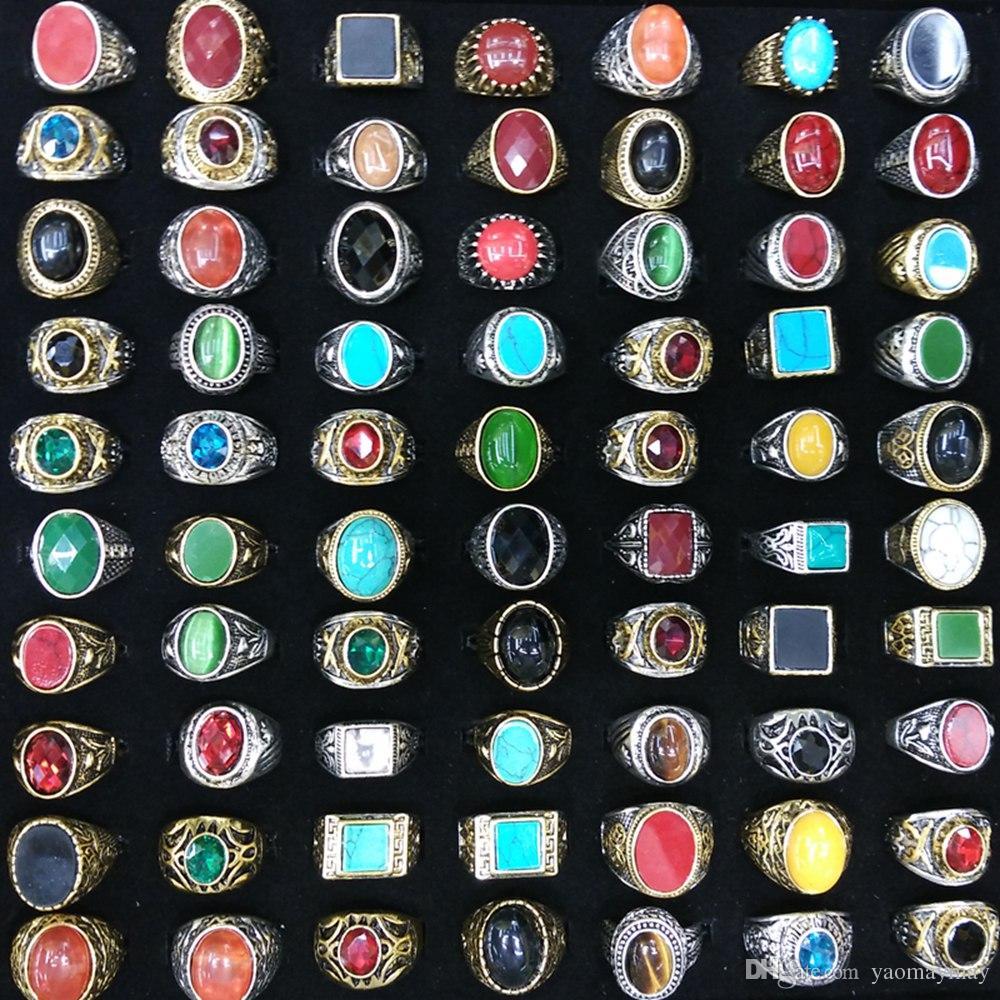Plateó los anillos de piedra naturales arcaicos anillos del estilo chino de plata plateado oro porción mezclada al por mayor 50pcs