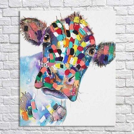 Colorido Animal De Estimação Vaca, Pintado À Mão Pura Moderna Parede Deco Animal Dos Desenhos Animados Pintura A Óleo Sobre Tela Grossa, Mulit tamanhos Disponíveis Frete Grátis C055