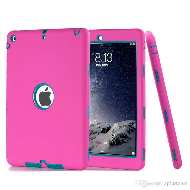 """3 em 1 caso para ipad air 2 tablet pc 9.7 """"moda à prova de choque dropproof kids capa protetora pc + soft silicone robô case para ipad 2 3 4"""