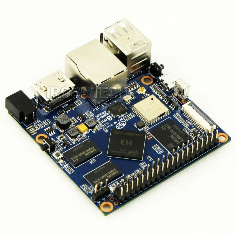 Freeshipping MiNi M2 + plus Banana Pi M2 + plus H3 Quad-Core 1 GB di RAM 8 GB eMMC BPI M2 + più WiFiBluetooth scheda demo Single Board Computer SBC
