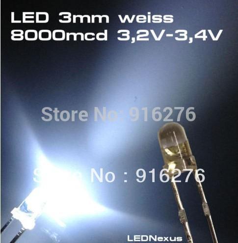 High Bright 1K LED White 3mm white LED diode bead light 8000mcd , 1000pcs/Lot, Free shipping