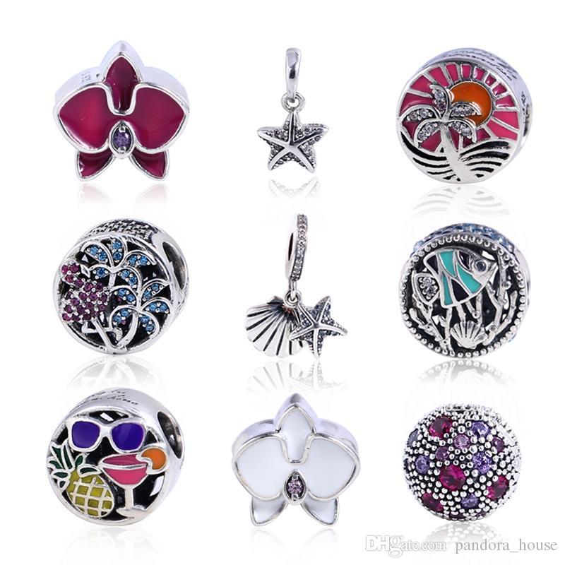 2017 Nouvelle Collection D'été Fit Pandora Charmes Bracelet Authentique 925 Sterling Argent Cubique Zircone Charmes Européens Perle DIY Mode Bijoux