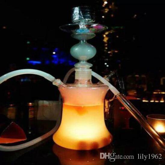 1 set narghilè in vetro borosilicato Shisha con 16 tipi di luci a LED Tubo in silicone senza custodia in pelle